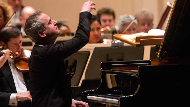 Jeremy Denk played Mozart at Carnegie Hall Wednesday with the San Francisco Symphony. (Eric Thayer for NPR Music)