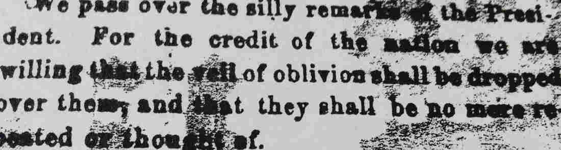 "An undated photo provided by The Patriot-News showing a bit of the 1863 editorial in which President Lincoln's Gettysburg Address was dismissed. The newspaper (then known as The Patriot & Union) referred to Lincoln's words as ""silly remarks."""