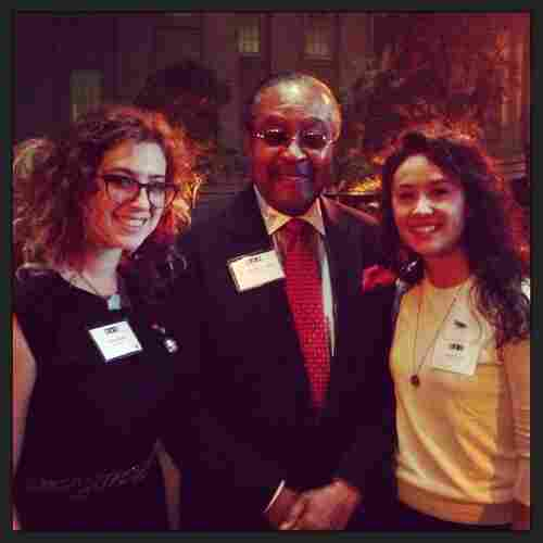 """Erica: """"The highlight of the evening was Michele Norris's live conversation with Dr. Clarence B. Jones, the legal advisor to Dr. Martin Luther King Jr. His six 'Race Card' words were: Hate is why we can't wait."""" (l-r) Erica Berger, Dr. Clarence B. Jones and Anneke Jong."""