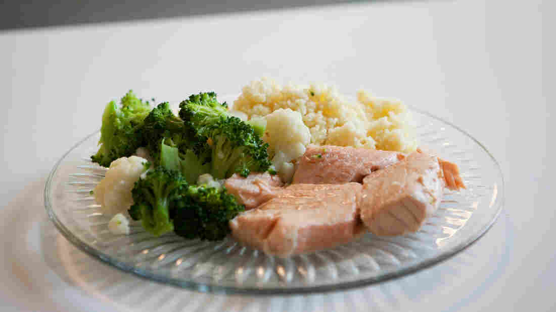 The finished product: Poached salmon, steamed broccoli and couscous all prepared in a Mr. Coffee.