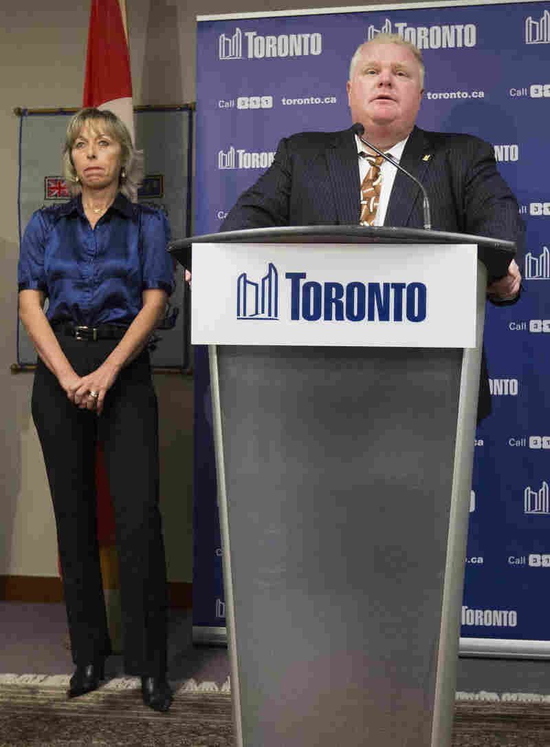 Toronto Mayor Rob Ford and his wife, Renata, during a news conference Thursday.