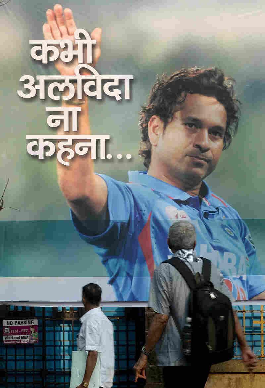 A poster in Mumbai this week of Sachin Tendulkar, India's cricket superstar.