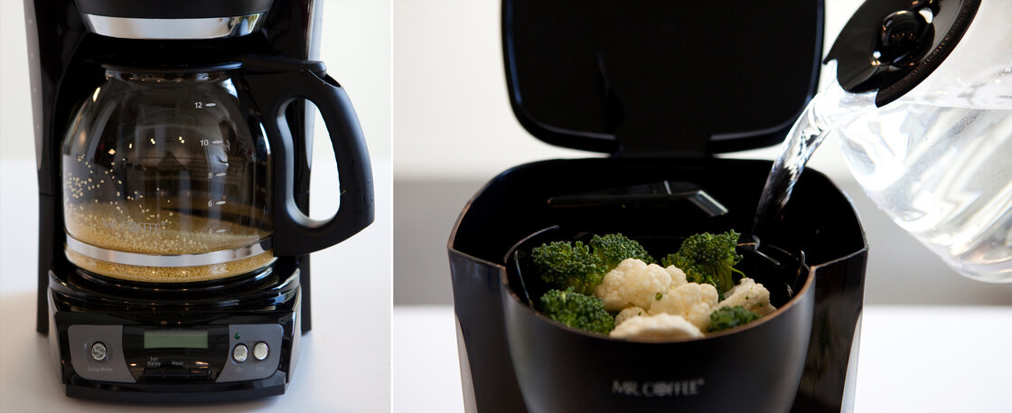 Parallel processing: Couscous cooks in the coffee maker's carafe while broccoli and cauliflower steam in the basket.