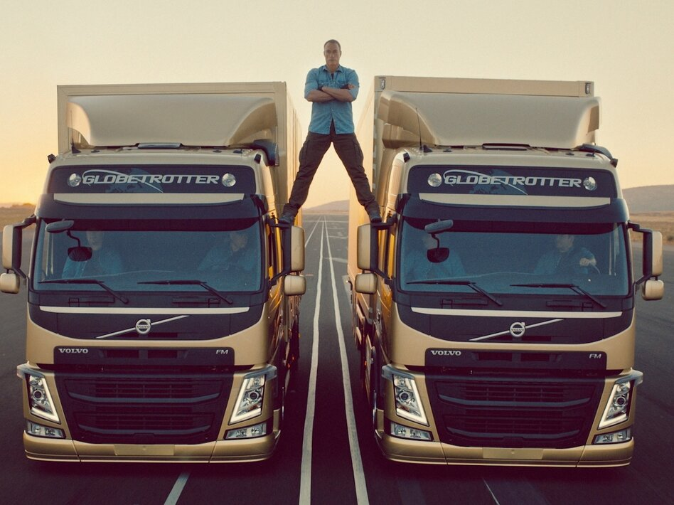 "The easy part: Actor Jean-Claude Van Damme before the trucks started backing up and he did his ""epic split."""