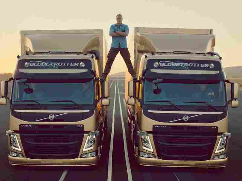 """The easy part: Actor Jean-Claude Van Damme before the trucks started backing up and he did his """"epic split."""""""
