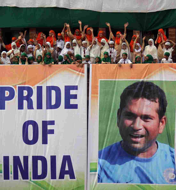 Students in Ahmadabad, India, honored cricket superstar Sachin Tendulkar in their own way earlier this week.