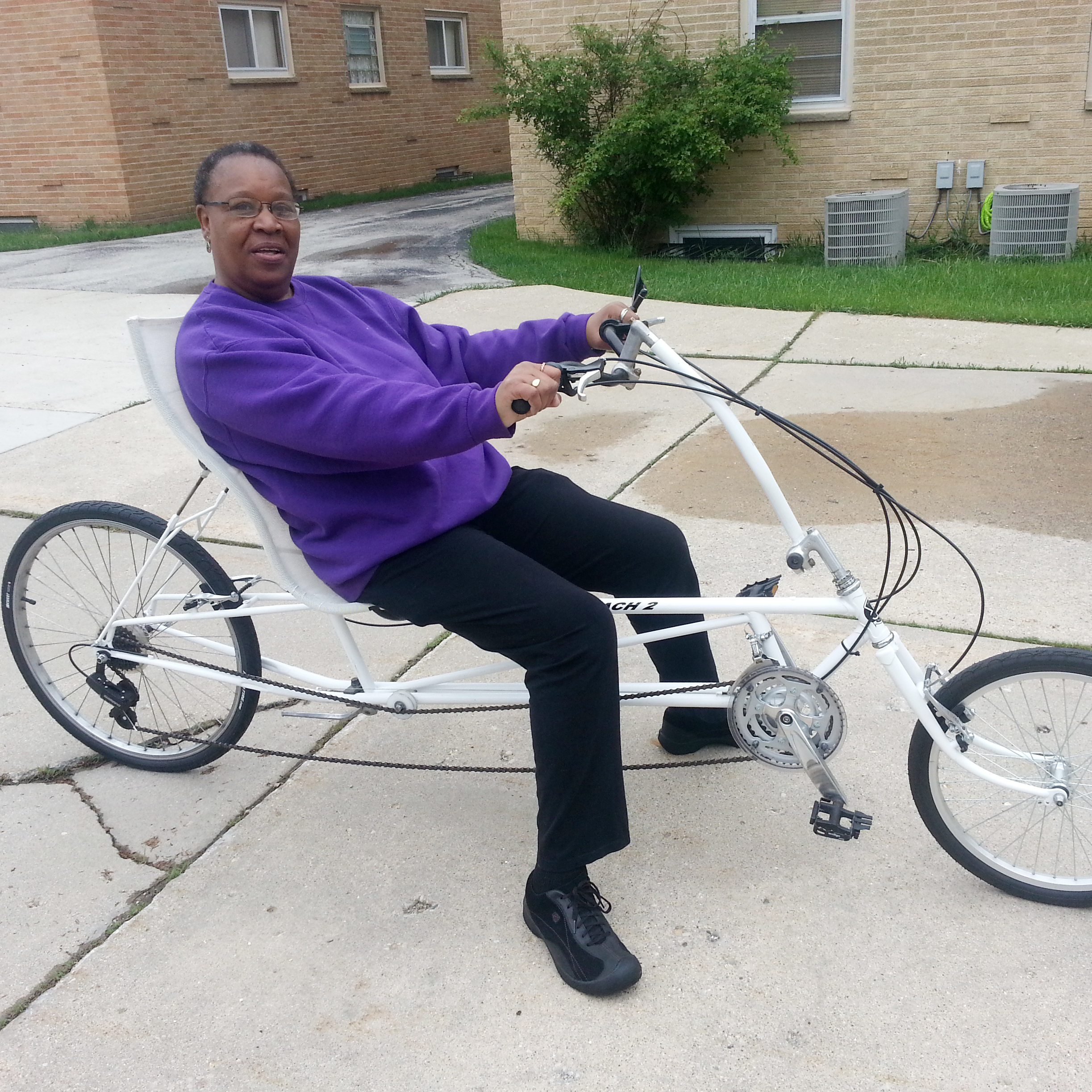 "Marilyn Cowser says she sees herself riding her recumbent bike ""well into my 70s."""