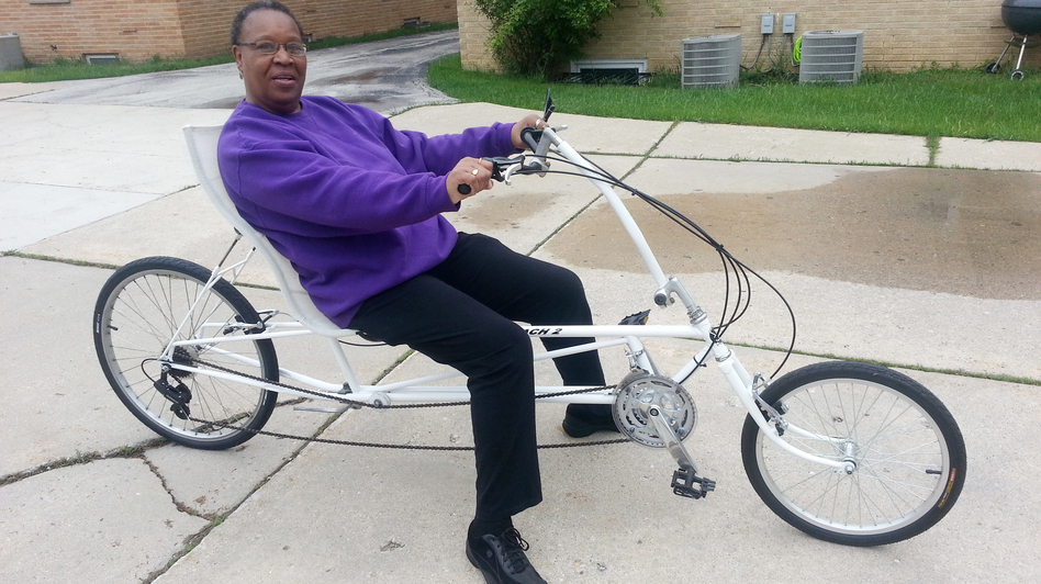 "Marilyn Cowser says she sees herself riding her recumbent bike ""well into my 70s."" (NPR)"
