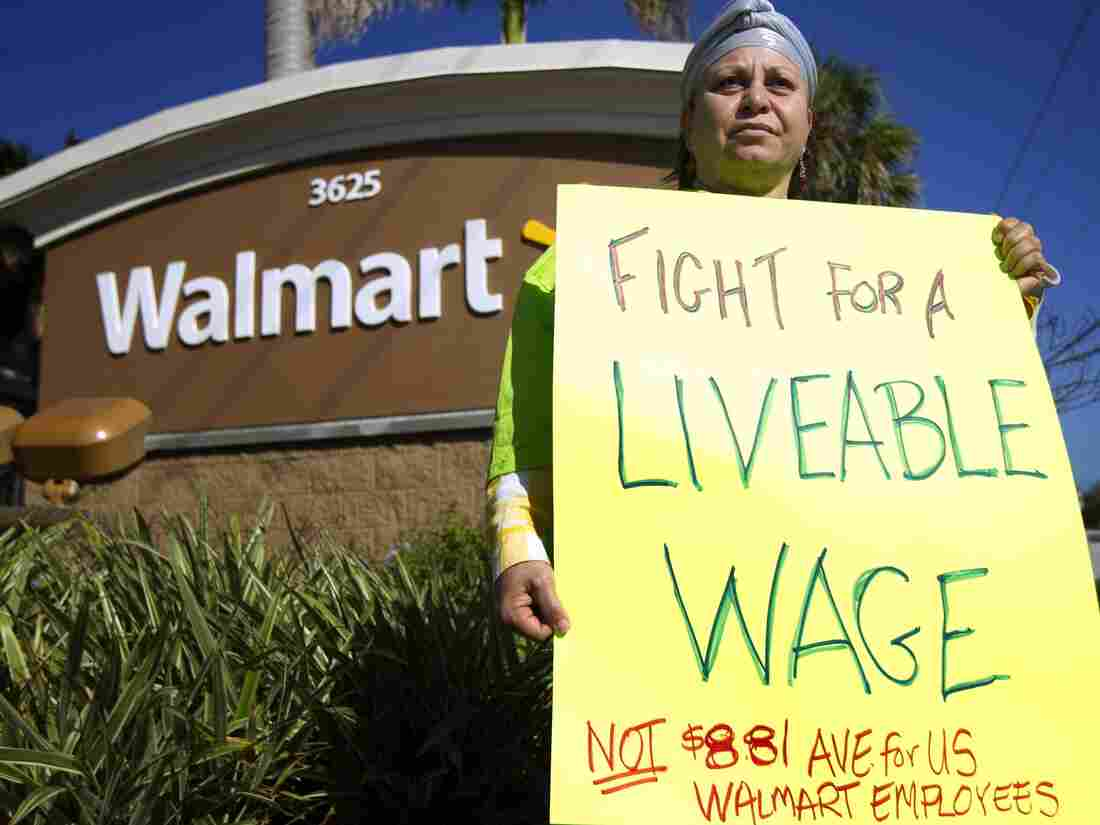 A woman in Boynton Beach, Fla., who took part in a nationwide protest against Wal-Mart last November.