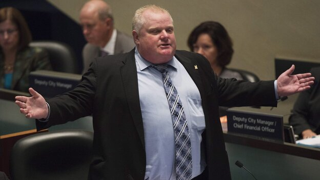 Mayor Rob Ford talks during a City Council debate in Toronto on Nov. 13.