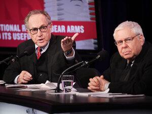"Alan Dershowitz and Sanford Levinson argue in favor of the motion ""T"