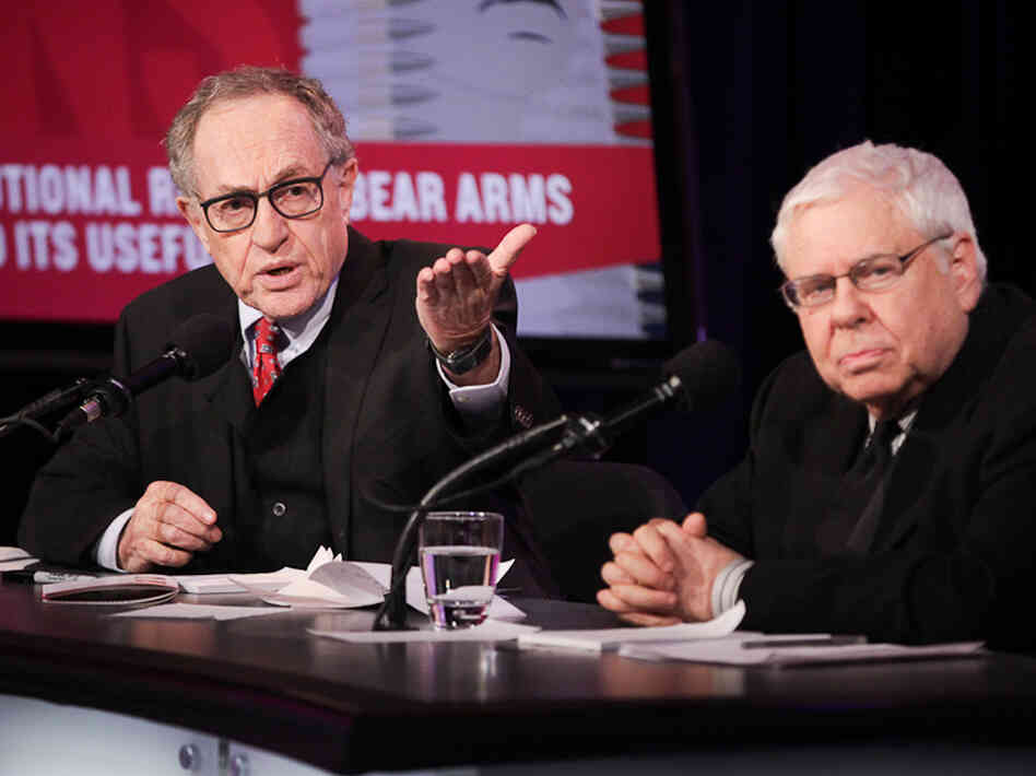 "Alan Dershowitz and Sanford Levinson argue in favor of the motion ""The Constitutional Right To Bear Arms Has Outlived Its Usefulness"" in an Intelligence Squared U.S. debate on Nov."
