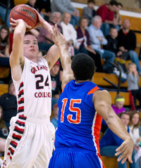 Have ball, will shoot: Grinnell College's Jack Taylor fires a 3-point shot during Sunday's game against Crossroads College. He scored 109 points — the second time he's topped 100 in a game.