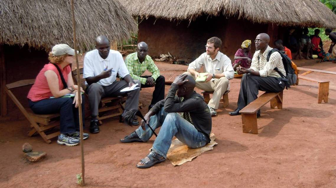 Medical anthropologist Mary Hayden trains traditional healers in a village outside Arua, Uganda.