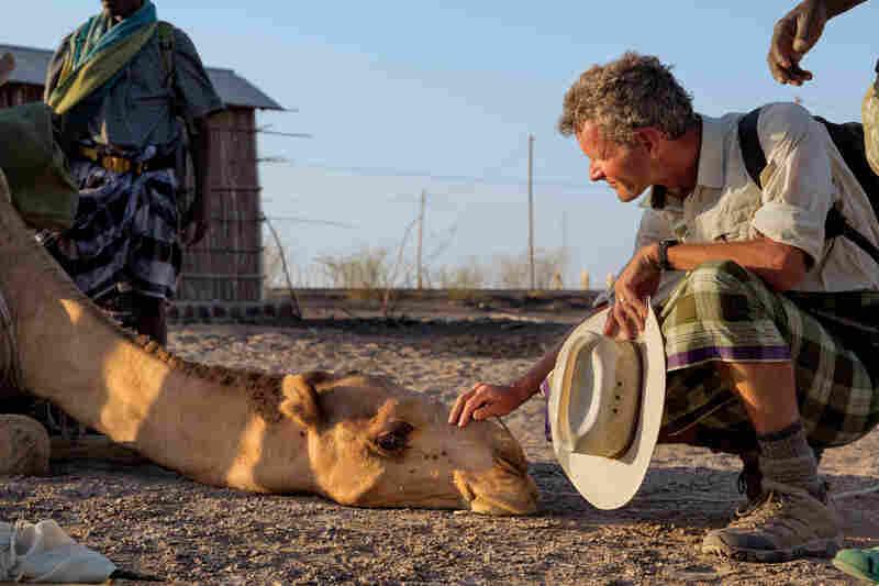 Salopek calms his camel.