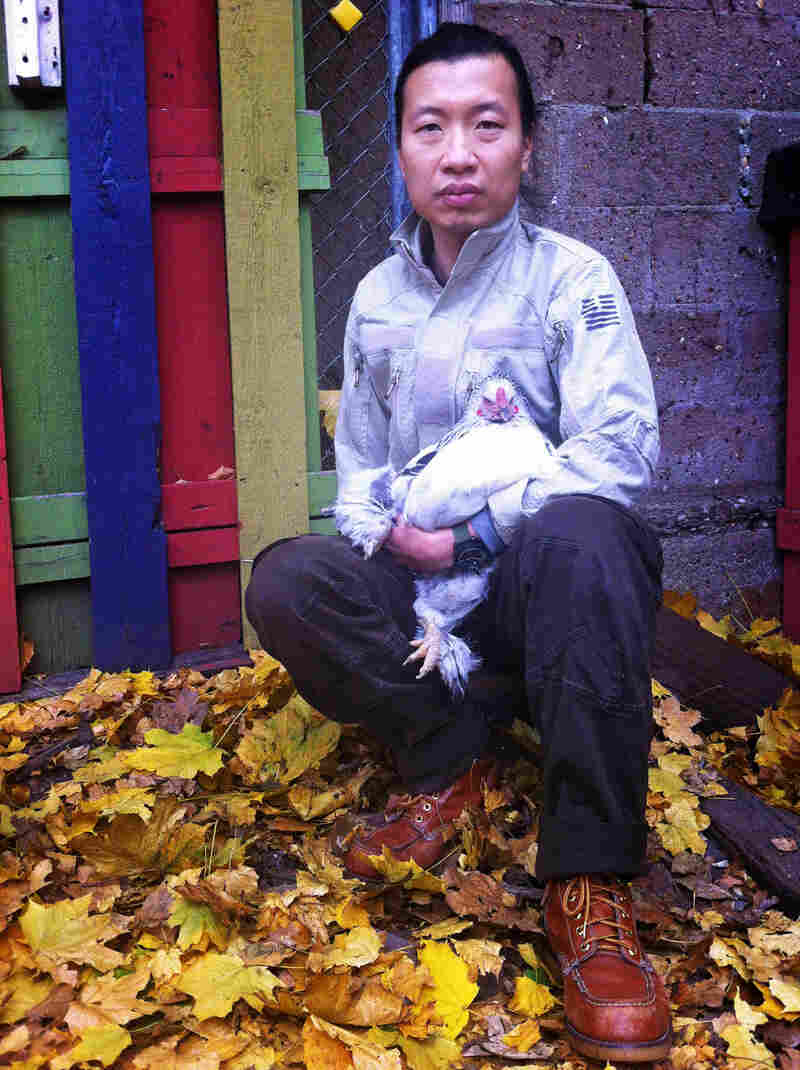 Fan raises egg-laying hens in the yard behind his studio on Staten Island.