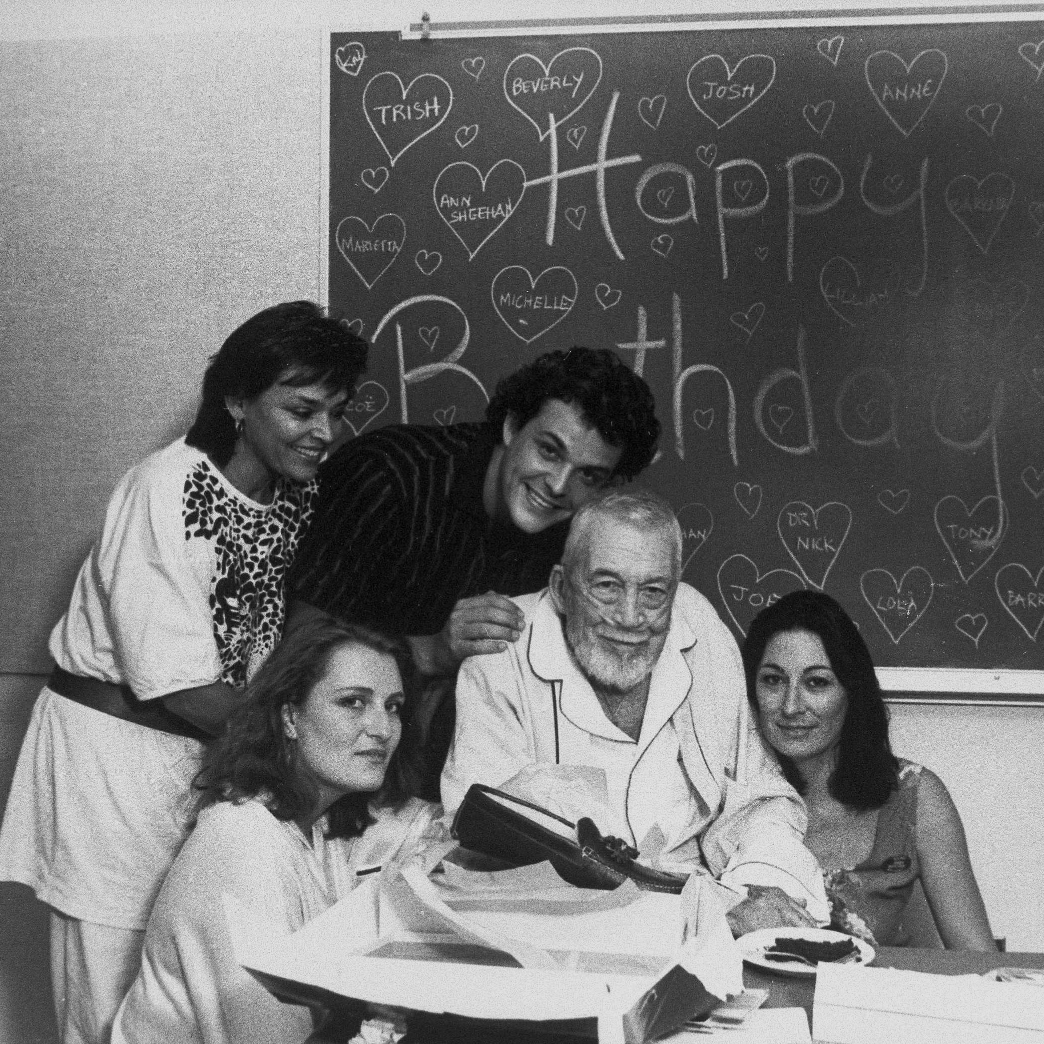 Zoe Sallis (clockwise from upper left), Danny Huston, John Huston, Anjelica Huston and Allegra Huston celebrate John's 81st birthday on Aug. 6, 1987.
