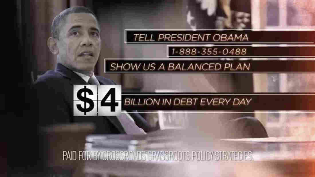 "An image from a ""fiscal cliff"" ad released by Crossroads Grassroots Policy Strategies in 2012."