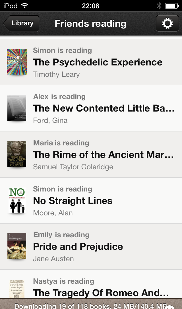 A screenshot of the Bookmate iPhone app