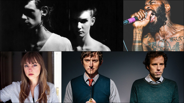 Clockwise from upper left: Angel Olsen, Ages And Ages, Death Grips, GEMS. (Courtesy of the artists)