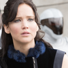 Jennifer Lawrence makes her second appearance as the savvy, steel-spined Katniss Everdeen in the dystopian Hunger Games series.