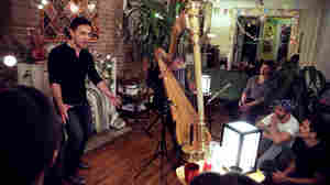 Tenor Nicholas Phan and harpist Sivan Magen perform at a group house in Fort Greene, Brooklyn.