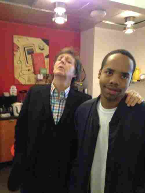 Paul McCartney and Earl Sweatshirt at NPR's New York office in October.