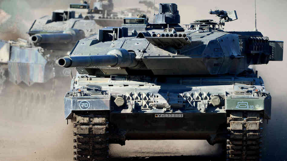 A Leopard 2 A6 tank is in operation during the German army exercise in Bergen, Germany, on Oct. 2. Germany said it would sell 270 of the tanks to Saudi Arabia last year. According to official figures, the Saudis were the top buyers of arms from Germany.