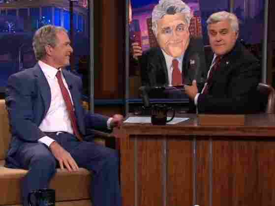 Former President George W. Bush gave Tonight Show host Jay Leno a painting Tuesday night. Since leaving the White House, Bush has taken up painting.