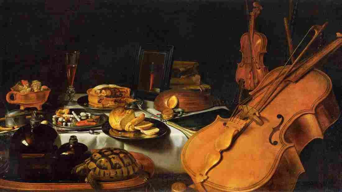 Food and music mingle in Pieter Claesz's Still Life with Musical Instruments (1623).
