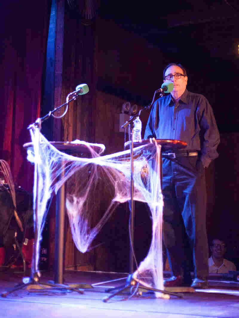 """Author R.L. Stine tries to guess whether Ask Me Another listeners find """"ventriloquist dolls"""" or """"a swarm of bees"""" scarier."""