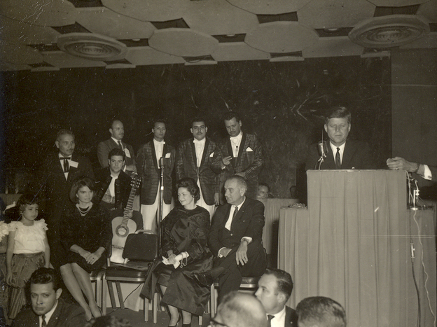 President John F. Kennedy speaks to Mexican-American activists at a LULAC gala in Houston's Rice Hotel on Nov. 21, 1963, the day before he was assassinated.