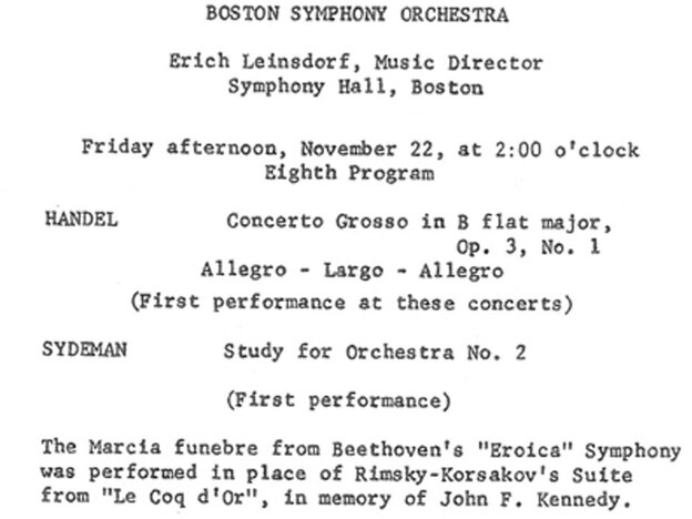 The log of the Boston Symphony Orchestra's performance on the afternoon of Friday, Nov. 22, 1963.