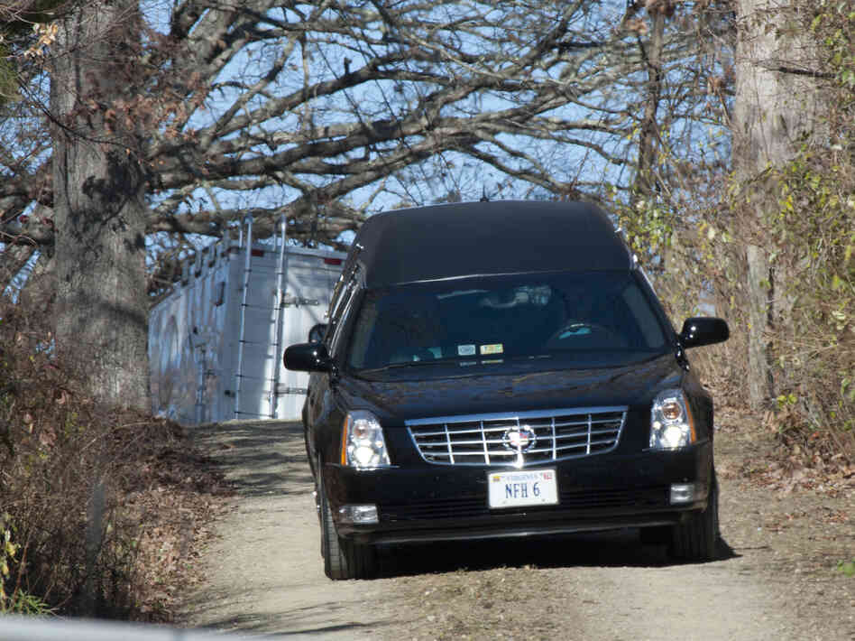 "A hearse leaves the Deeds family home in Millboro, Va., on Tuesday, after 24-year-old Austin ""Gus"" Deeds died in an apparent suicide."