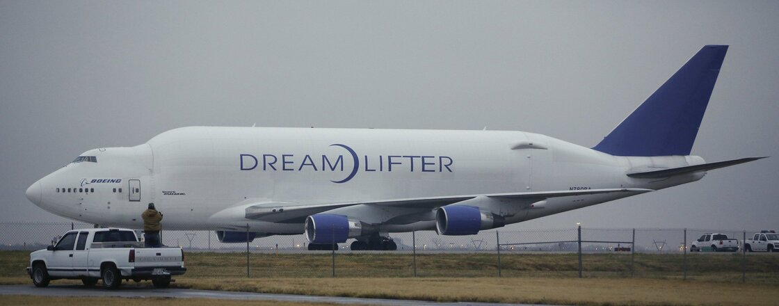 Grounded: The Boeing 747 Dreamlifter that mistakenly landed Wednesday at Jabara airport in Wichita, Kan.