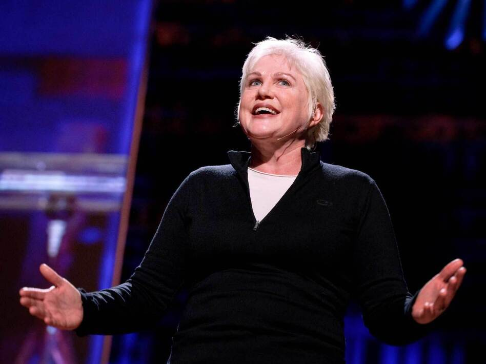 """""""I felt so lucky to be Catholic and I loved the Catholic school and I loved the nuns ... then when it came to the belief part of it I was always a little bit skeptical"""" — Julia Sweeney (James Duncan Davidson/TED)"""