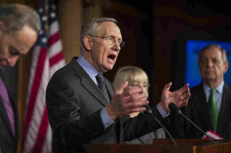 Senate Majority Leader Harry Reid (D-Nev.) speaks to the media on Thursday after passing the so-called nuclear option, which changes the Senate rules to eliminate the use of the filibuster on presidential nominees except those to the Supreme Court.