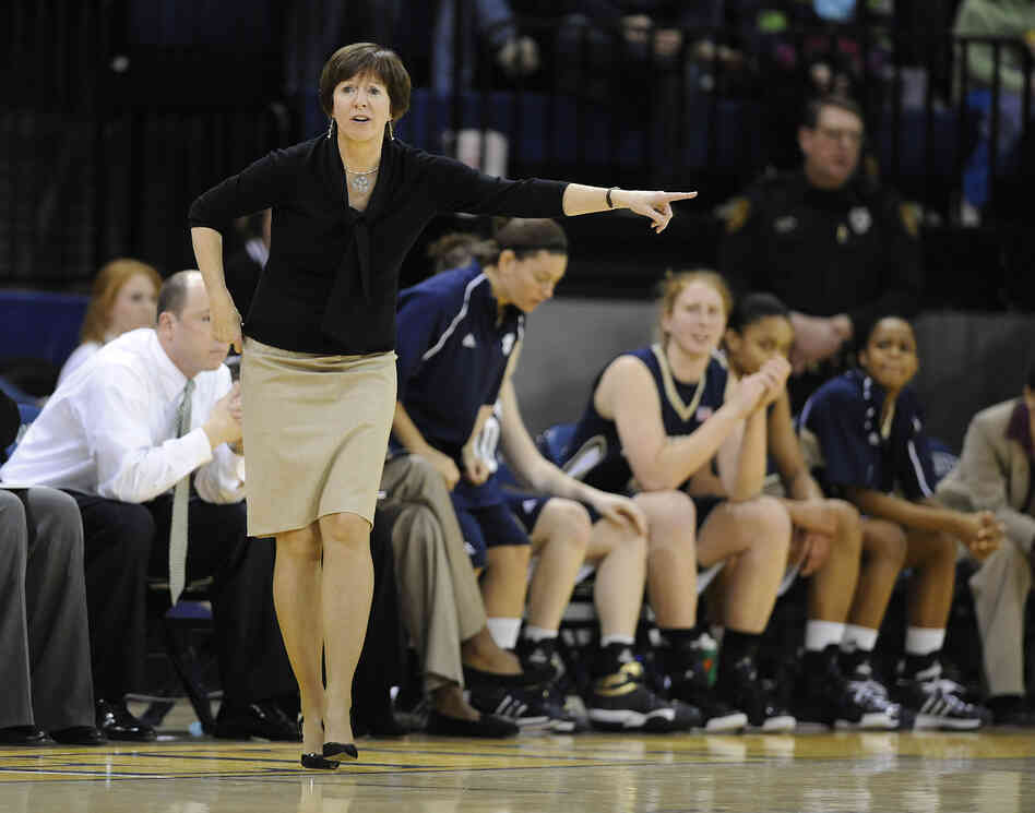 Notre Dame head coach Muffet McGraw yells out to the players during the first half of an NCAA college basketball game in 2009 in Milwaukee.