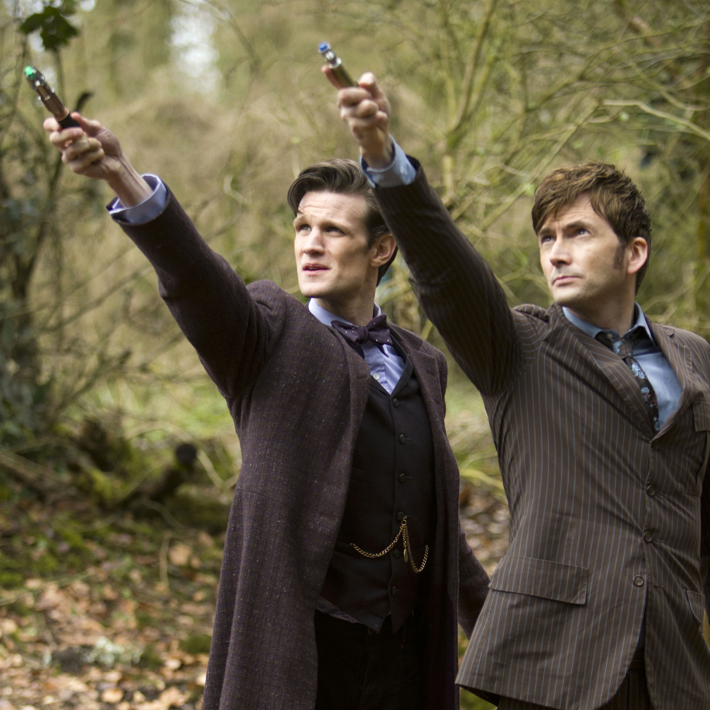 Tenth Doctor David Tennant brandishes his sonic screwdriver alongside current Doctor Matt Smith in the 50th anniversary special.