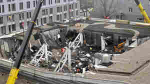 A view from above of what remains of the Maxima supermarket in a suburb of Riga, Latvia, after Thursday's roof collapse.