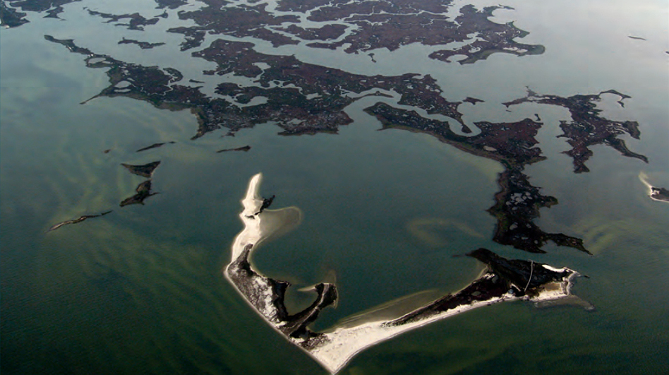 Saltwater wetlands that include marshes and shoals on Virginia's Atlantic coast. U.S. coastal wetlands losses were 25 percent greater from 2004-2009, according to a recent federal study. (U.S. Fish and Wildlife Service)