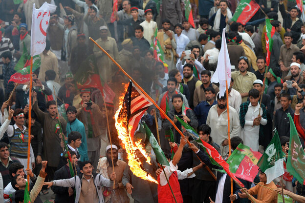 Thousands of Pakistani activists from right-wing political parties prote