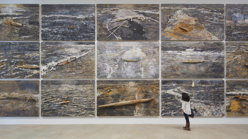Anselm Kiefer's <em>Velimir Chlebnikov</em>, a series of 30 paintings devoted to the Russian philosopher who posited that war is inevitable, is on display at the Massachusetts Museum of Contemporary Art.