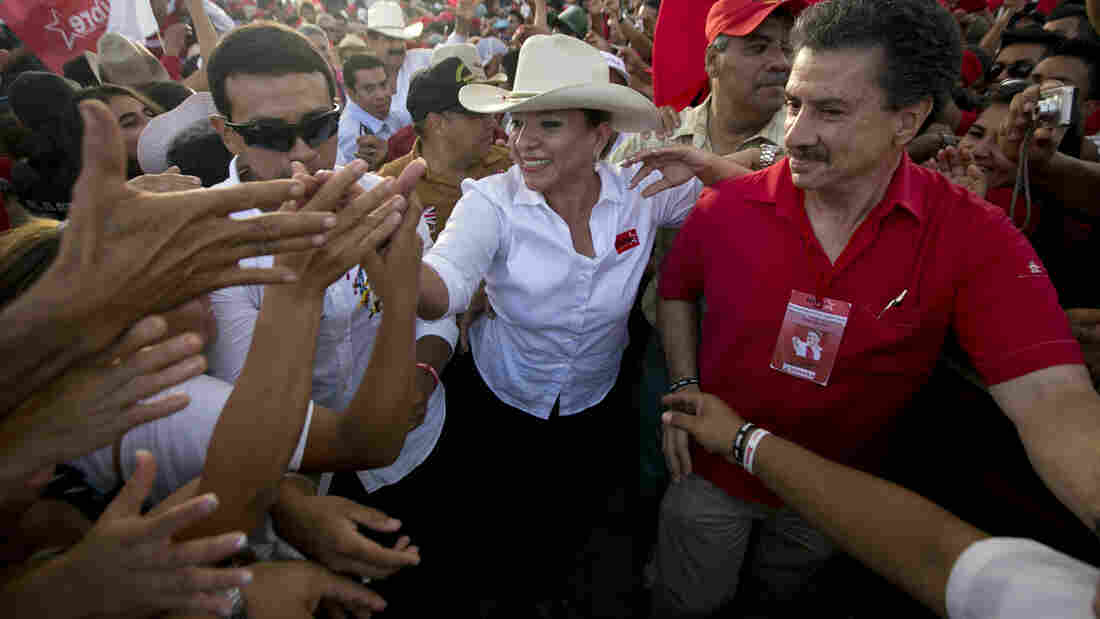 Honduran presidential candidate Xiomara Castro greets supporters during a campaign rally in Tegucigalpa last week.