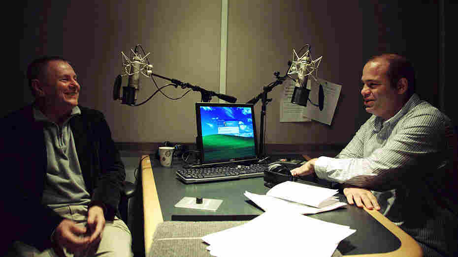 NPR's Mike Pesca (right) reminisces about his middle school days with former teacher Kevin Sheehan.