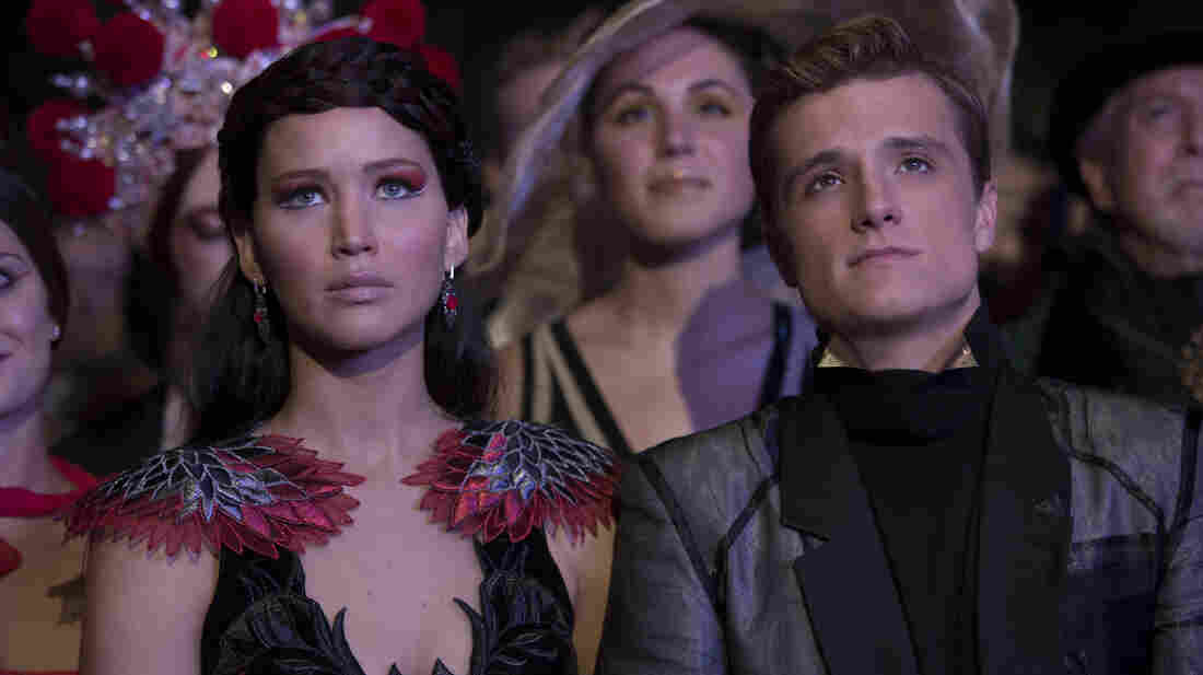 Jennifer Lawrence and Josh Hutcherson in Catching Fire.