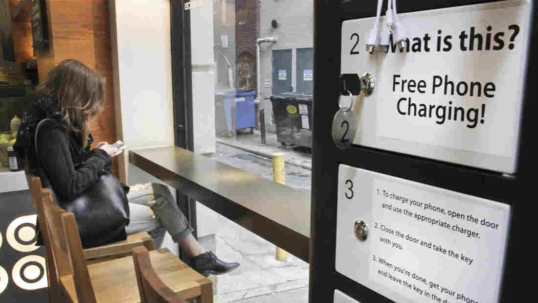 Customers at Honeygrow in Philadelphia can charge their cellphones while they dine using one of Doug Baldasare's kiosks.