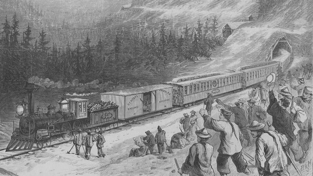 "Nine out of 10 workers on the transcontinental railroad were Chinese. These indentured laborers, derogatorily called ""coolies,"" became a prime target for criticism in the mid-19th century. (Library of Congress)"