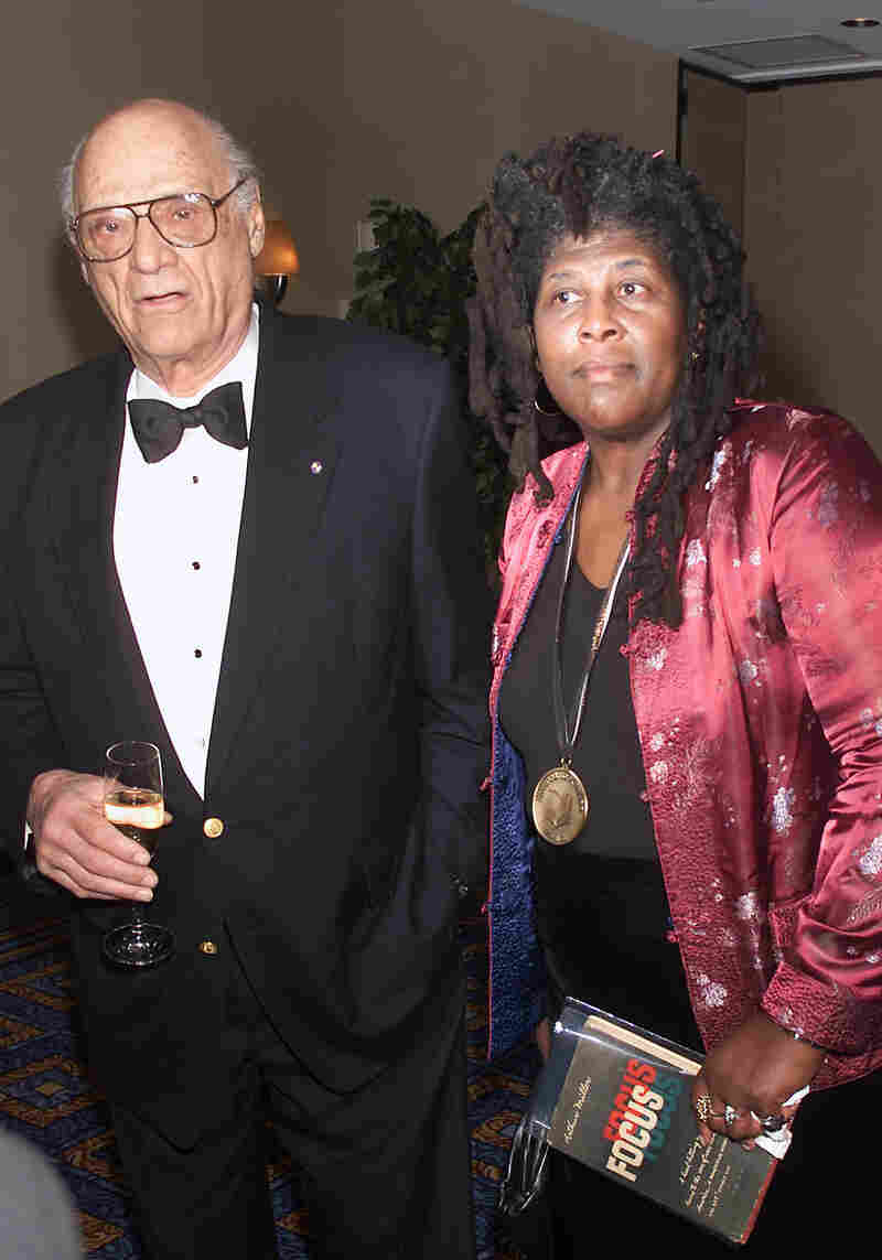Arthur Miller with award finalist for poetry Wanda Coleman at the 2001 National Book Awards in New York City.