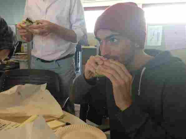 Ian is skeptical until realizing the Oprah sandwich does not actually contain Oprah meat.